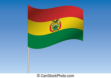 3D Flag Illustration waving in the sky of the country of...