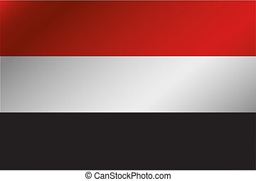 3D Wavy Flag Illustration of the country of  Yemen