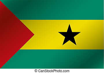 3D Wavy Flag Illustration of the country of Sao Tome E...