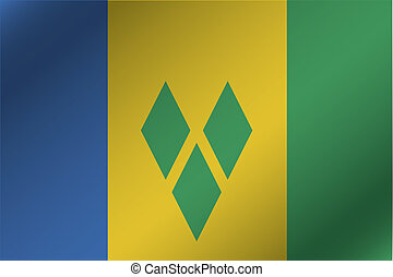 3D Wavy Flag Illustration of the country of Saint Vincents...