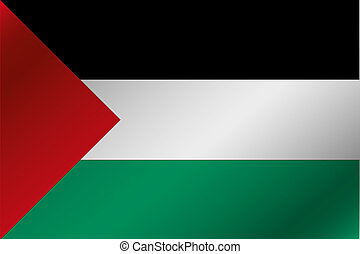3D Wavy Flag Illustration of the country of  Palestine