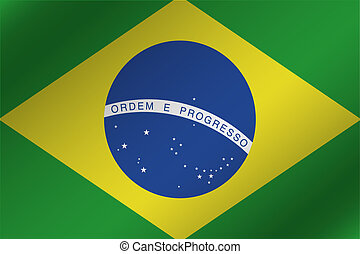 3D Wavy Flag Illustration of the country of  Brazil