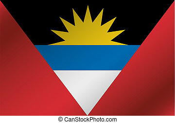 3D Wavy Flag Illustration of the country of  Antigua and Barbuda
