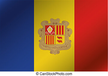 3D Wavy Flag Illustration of the country of  Andorra