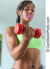 Home Fitness Black Woman Training Biceps With Weights