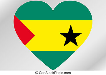 Flag Illustration of a heart with the flag of Sao Tome E...