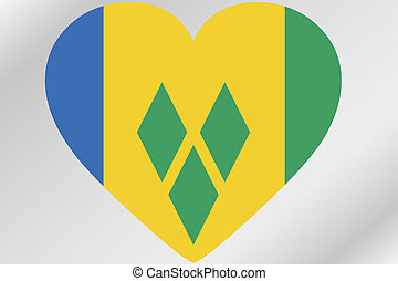 Flag Illustration of a heart with the flag of Saint Vincents...