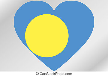 Flag Illustration of a heart with the flag of Palau - A Flag...
