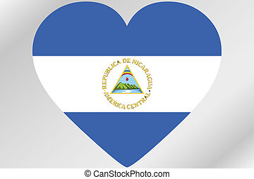Flag Illustration of a heart with the flag of  Nicaragua
