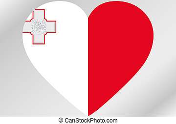Flag Illustration of a heart with the flag of  Malta
