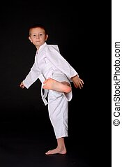 Karate Kid - Young boy in karate outfit making fighting...