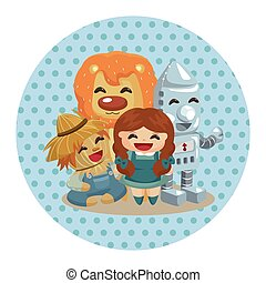 The Wizard of Oz cartoon theme elements