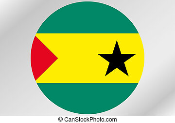 Flag Illustration within a circle of the country of Sao Tome...
