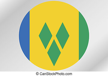 Flag Illustration within a circle of the country of Saint...