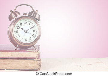 färg, bok, gammal, bakgrund, klocka
