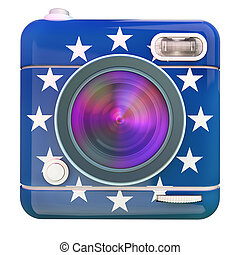 Camera icon Europe - 3D rendering of a photo camera icon...
