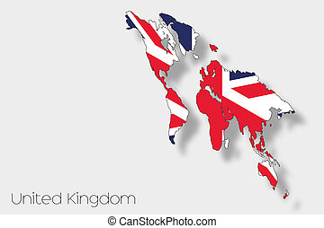 3D Isometric Flag Illustration of the country of  United Kingdom