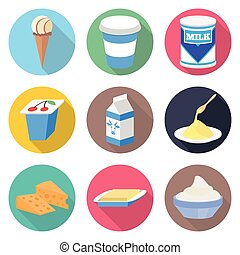 Milk products vector icon set - milk, yogurt, ice cream,...