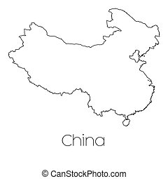 Country Shape isolated on background of the country of China