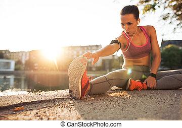 fitness, Voor, vrouw, uitvoeren,  Stretching