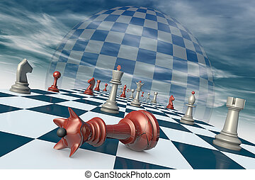 End of career - Chess pieces on a chessboard long (fantastic...