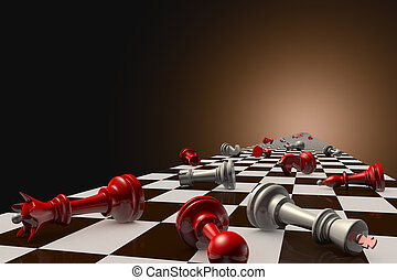 Stopped time - Red and gray pawn on the chessboard lie...