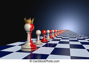 Wise King - Red and gray pawns on a chessboard. Artistic...