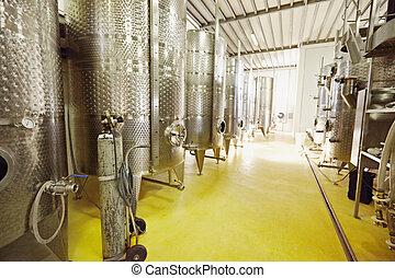 aço, inoxidável, fermentação,  Winery, Recipientes, vinho
