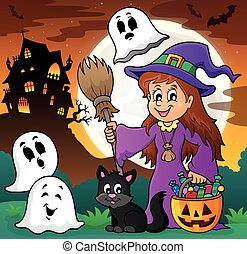 Cute witch and cat with ghosts 1