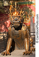 Dragon Bronze Statue Gugong Forbidden City Palace Beijing...