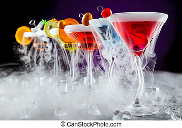 Martini drinks with smoked effect - Martini drinks with dry...