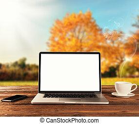 de madera, estación, computador portatil, tabla, otoño