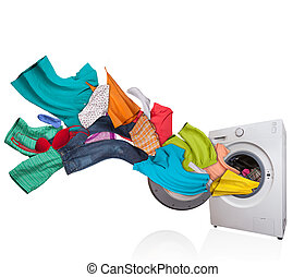 Washing machine with laundry on white background - Colored...