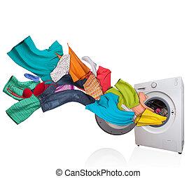 Washing machine with laundry on white background - Colored...
