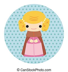 Medieval character cartoon theme elements