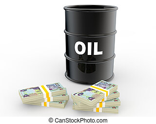 3d oil barrel and UAE dirhams - 3d render of oil barrel and...