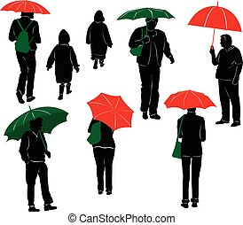 Raining - Silhouettes of people with umbrellas