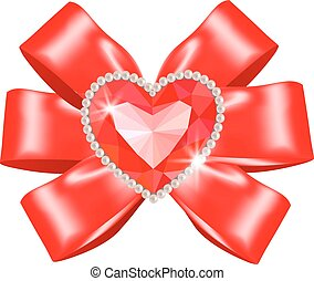 Red bow with heart ruby