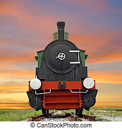 old steam engine locomotive train on beautiful sky...