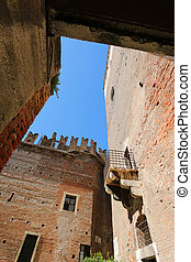 Castelvecchio Castle Fortress - A Balcony and parts of old...