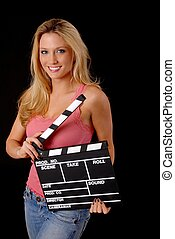 Lovely Blond Girl with a Clap board - Isolated lovely and...