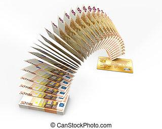 Flying money. 3D cash back concept.
