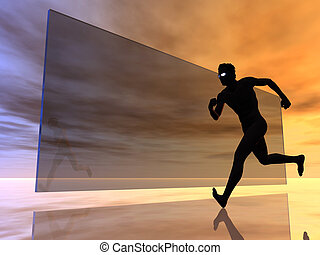 running man in front of a glass pane - 3d illustration