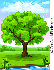 Summer landscape with old tree and sky illustration
