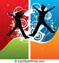 Boy and girl silhouettes jumping