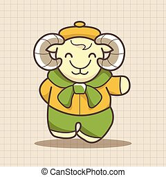 animal goat winter cartoon theme elements