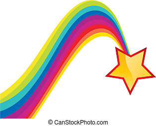 Shiny star and rainbow trail, vector illustration