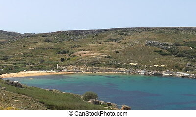 Turquoise color sea bay and beach - Malta island Gnejna Bay...