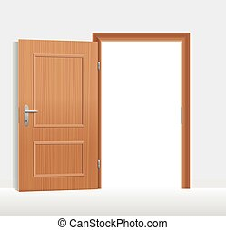 Open Door - Open door to a bright white room Vector...