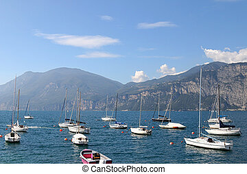 The Garda Lake in Italy - Many sailboats on The Garda Lake...